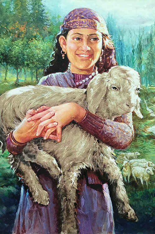 Indian Art | Art | Canvas Art | Girl with a Lamb