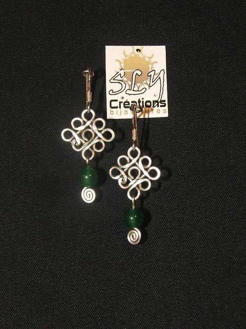 """boucles d'oreilles """"arabesques"""" simples , jade"""