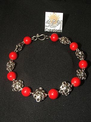 """bracelet """"arabesques bombées"""" , agates teintées"""