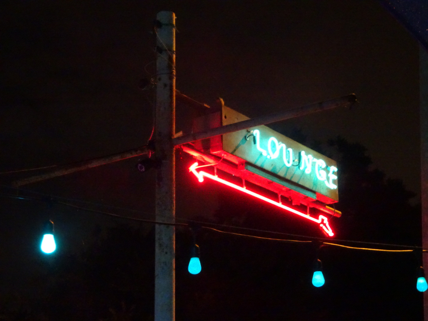 Follow the neon signs to the louge.