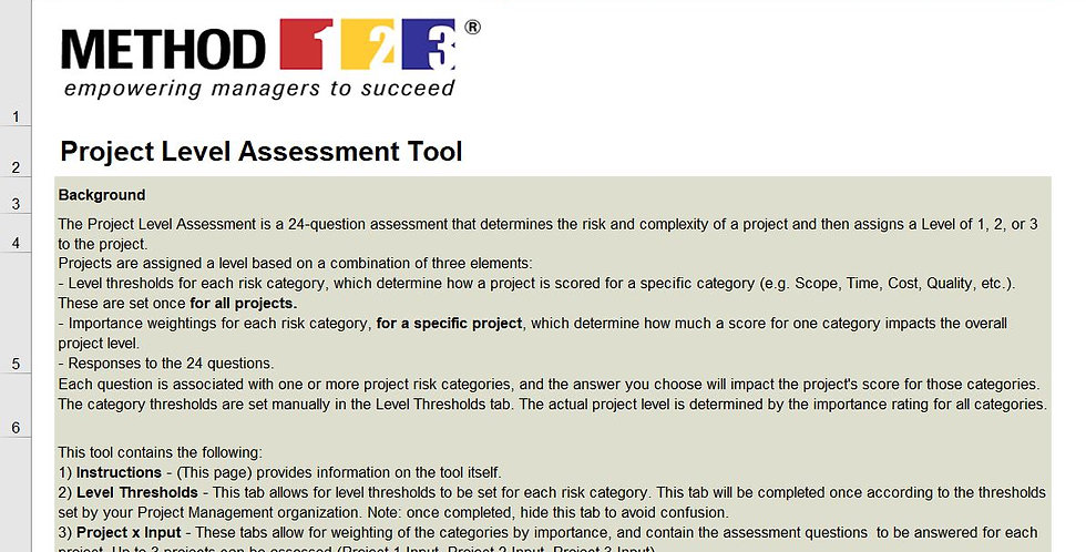Method123 Project Risk Assessment Tool