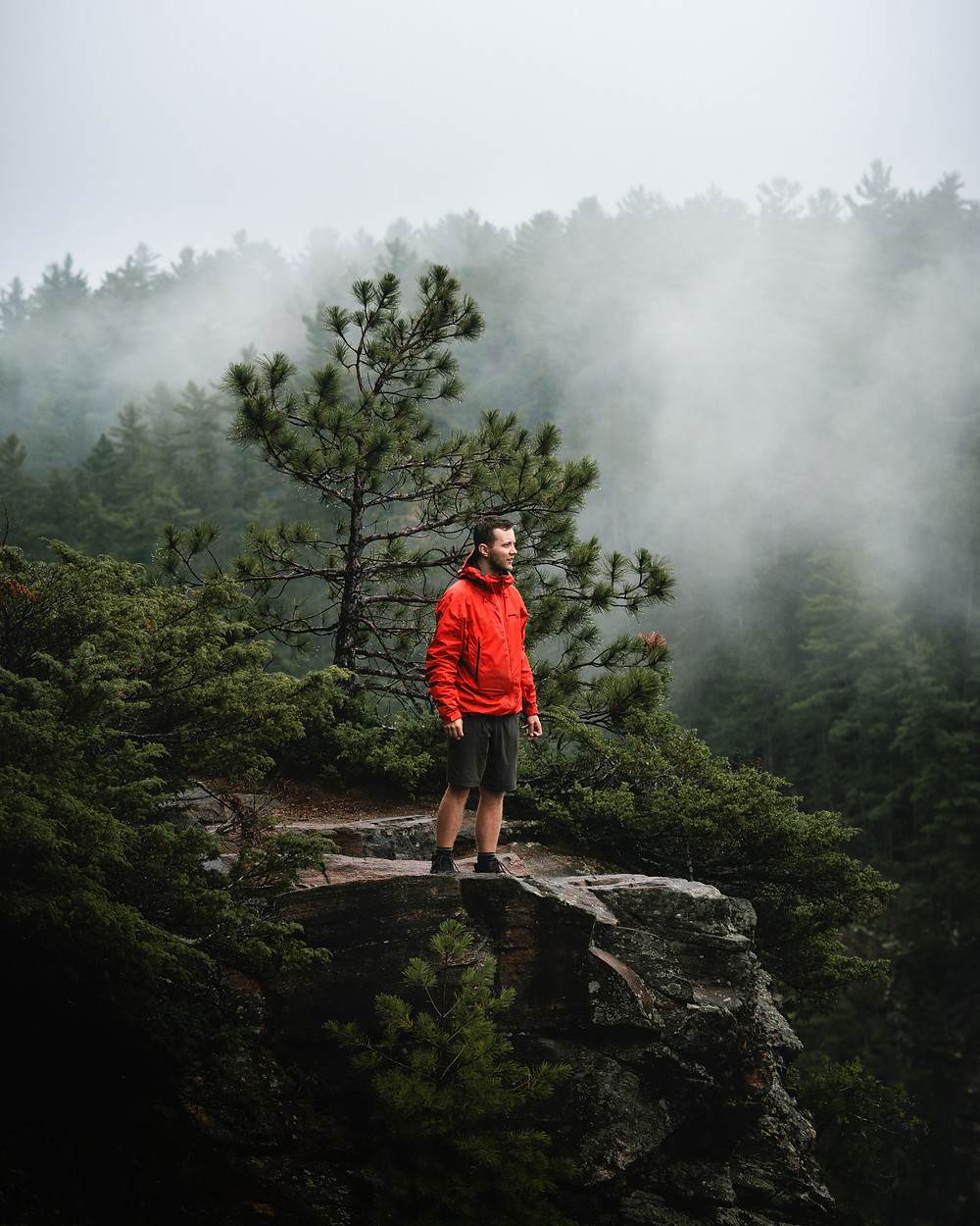 patagonia jacket barron canyon foggy mist camping backcountry Algonquin lifestyle photography michael frymus mfvisuals.ca
