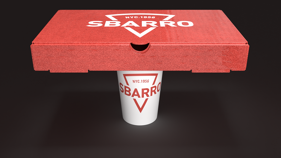 Sbarro Pizza Boxes with Cup front view-C