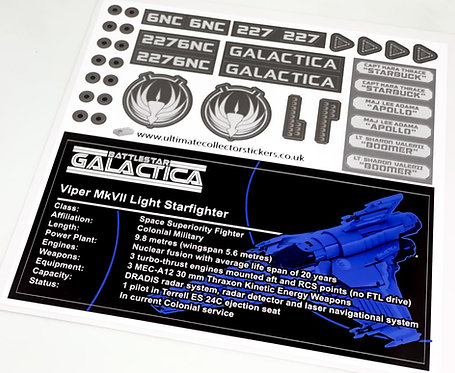 Lego Sticker Sheet for Battlestar Galactica Viper Mark VII