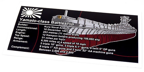 Lego UCS / MOC Sticker for Japanese Battleship Yamato