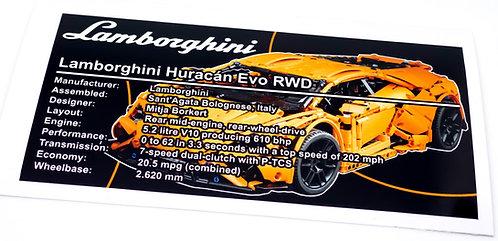 Lego Technic UCS Sticker for Lamborghini Huracàn Evo RWD (MOC-44637)