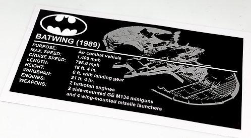 Lego Batman UCS Sticker for 1989 Batwing 76161