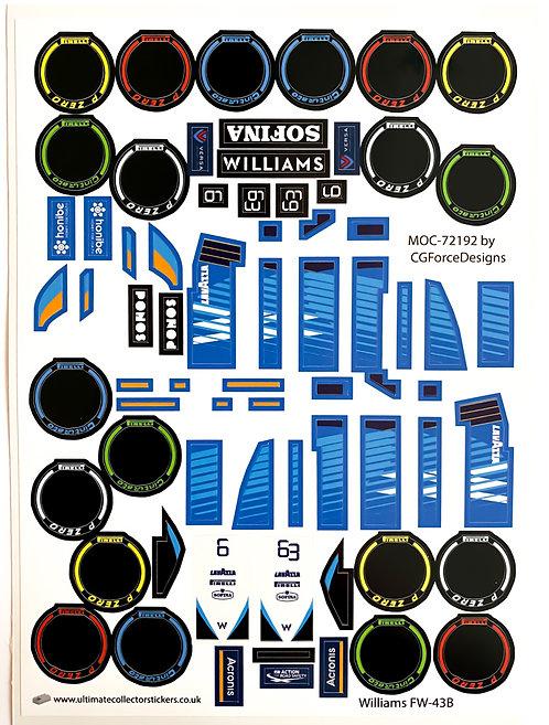 Lego Sticker Sheet for F1 Williams FW-43B by LegoCG (MOC-72192)