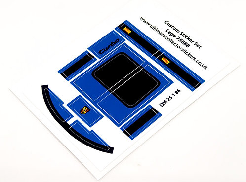 Lego MOC Sticker Sheet for Blue Speed Champions Porsche 911 (75888)