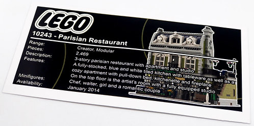 Lego Creator UCS Sticker for Parisian Restaurant 10243