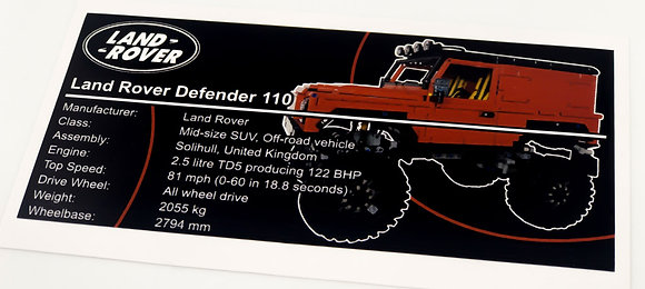 Lego Technic MOC Sticker for Land Rover Defender (red)
