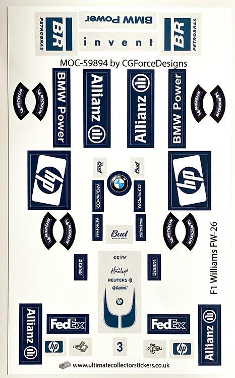 Lego Sticker Sheet for F1 Williams FW-26 by LegoCG (MOC-59894)
