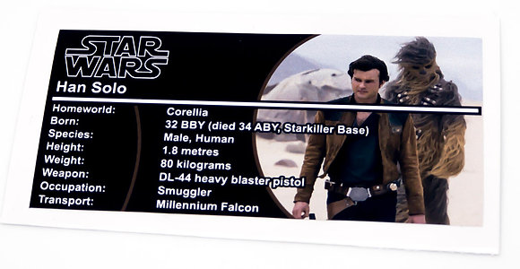Lego Star Wars Buildable Figure Sticker for Han Solo (75535)