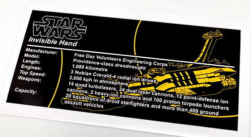 Lego Star Wars UCS / MOC Sticker for Anios Invisible Hand ST07 (Yellow)