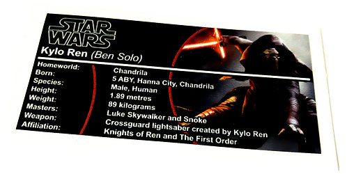 Lego Star Wars Buildable Figure Sticker for Kylo Ren (75117)