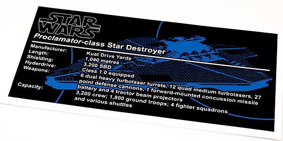 Lego Star Wars UCS / MOC Sticker for Proclamator-class Star Destroyer