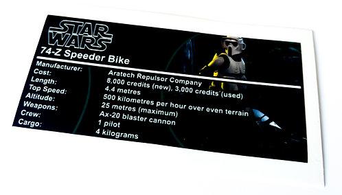 Lego Star Wars Buildable Figure Sticker for Scout Trooper / Speeder Bike (75532)