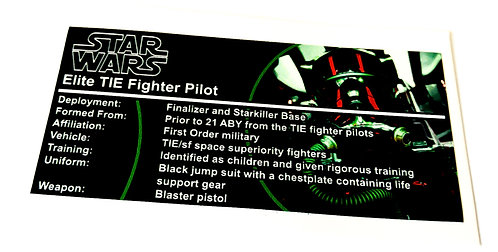 Lego Star Wars Buildable Figure Sticker for Elite TIE Fighter Pilot (75526)