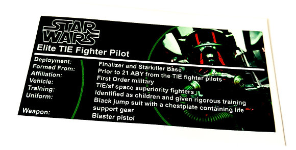 Lego Star Wars Buildable Figure Sticker for Elite TIE Fighter Pilot (75526)