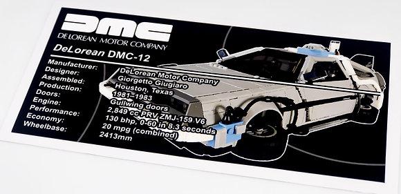 Lego UCS / MOC Sticker for DeLorean Time Machine (Brick Vault)
