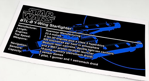 Lego Star Wars UCS / MOC Sticker for Anakin's Y-Wing Starfighter 8037