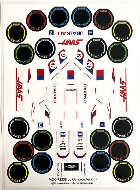 Lego Sticker Sheet for F1 Haas VF-21 by LegoCG (MOC-75358)