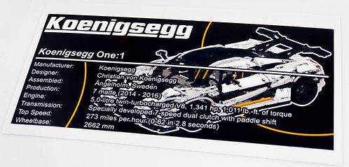 Lego Technic MOC Sticker for Koenigsegg One + Instructions