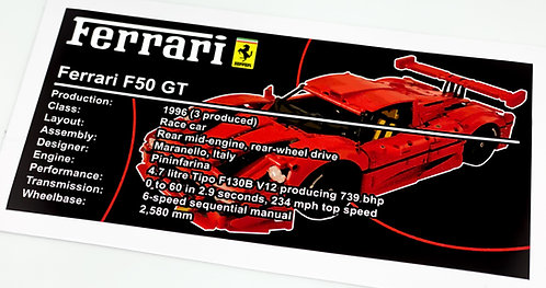Lego Technic UCS Sticker for Ferrari F50