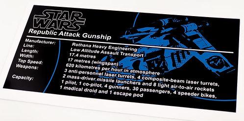 Lego Star Wars UCS Sticker for Republic Gunship (7163 / 7676 / 75021)