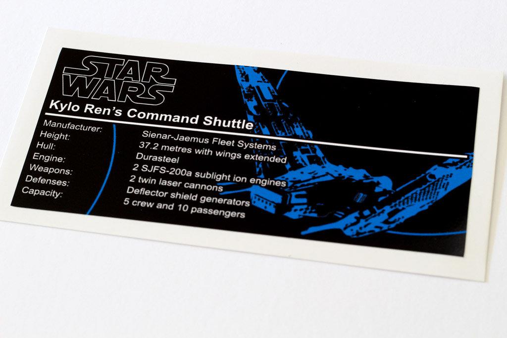 Star Wars Sticker for LEGO ® 75256 kylo REN/'S COMMAND Shuttle precut