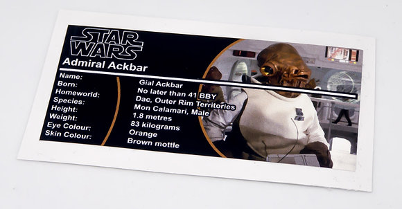 Lego Star Wars Buildable Figure Sticker for Admiral Ackbar