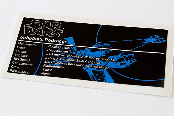 Lego Star Wars UCS / MOC Sticker for Sebulba's Podracer (7962 / 4485 / ST09)
