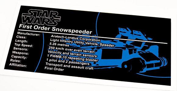 Lego Star Wars UCS / MOC Sticker for First Order Snowspeeder 75100