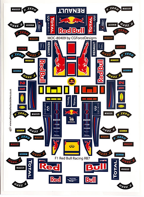 Lego Sticker Sheet for F1 Red Bull Racing RB7 by LegoCG (MOC-80409)