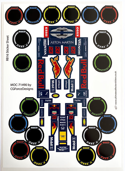 Lego Sticker Sheet for F1 Red Bull Racing RB16 by LegoCG (MOC-60442)