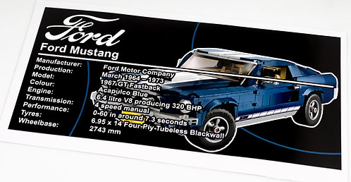 Lego Creator UCS Sticker for Ford Mustang 10265