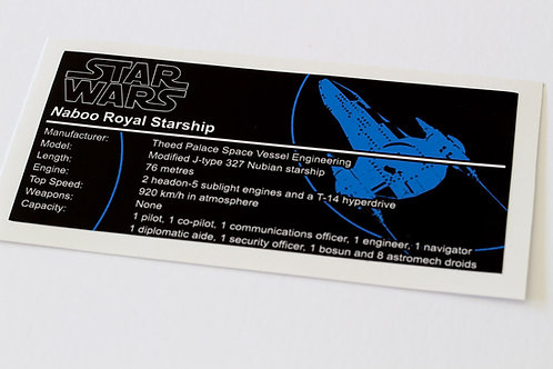 Lego Star Wars UCS / MOC Sticker for Naboo Royal Starship (Anio ST11)