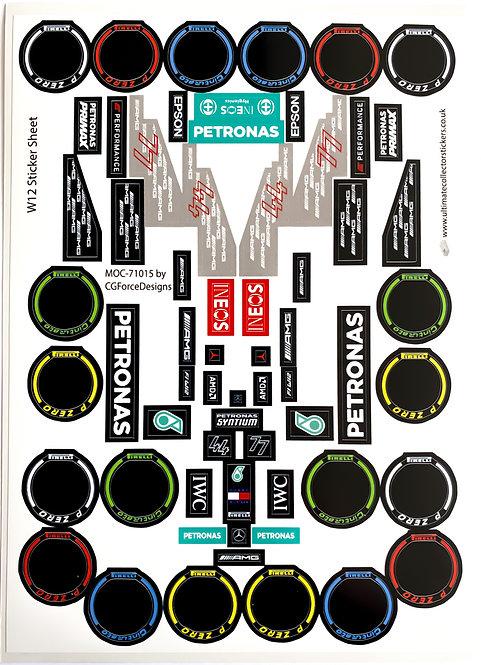 Lego Sticker Sheet for F1 Mercedes W12 by LegoCG (MOC-71015)