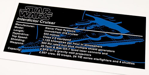 Lego Star Wars UCS / MOC Sticker for Interdictor-Class Cruiser