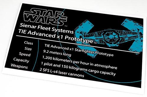 Lego Star Wars UCS Sticker for Darth Vader's Tie Advanced 10175