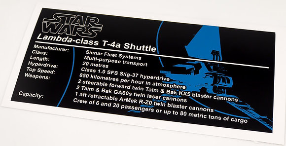 Lego Star Wars UCS Sticker for Imperial Shuttle (75094 / 10212)