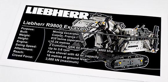 Lego Technic UCS / MOC Sticker Liebherr R 9800 Excavator 42100