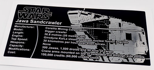Lego Star Wars UCS Sticker for Jawa Sand Crawler (10144 / 75059) - Metallic