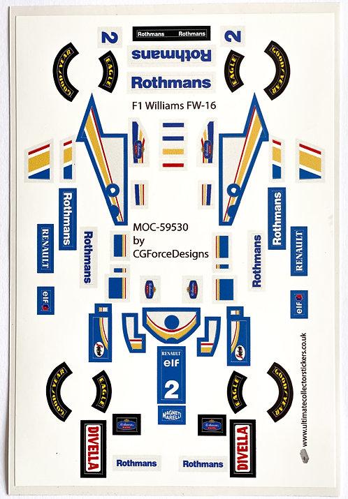 Lego Sticker Sheet for F1 Williams FW-16 by LegoCG (MOC-59530)