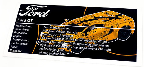 Lego Technic MOC Sticker for Ford GT + Instructions