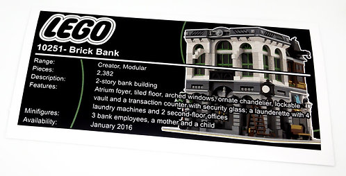Lego Creator UCS Sticker for Brick Bank 10251