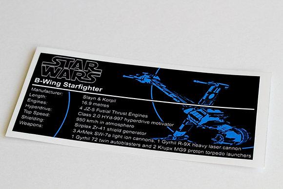 Lego Star Wars UCS / MOC Sticker for B-Wing (6208 / 10227 / 75050)