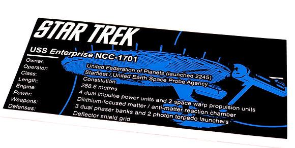 Lego Creator UCS / MOC Sticker for Star Trek USS Enterprise NCC-1701