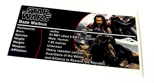 Lego Star Wars Buildable Figure Sticker for Baze Malbus (75525)