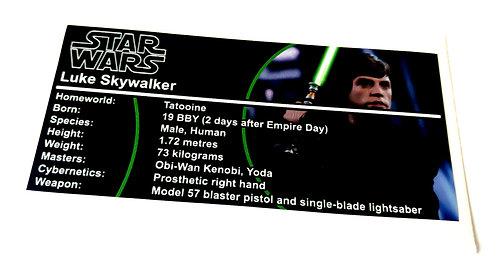 Lego Star Wars Buildable Figure Sticker for Luke Skywalker (75110)